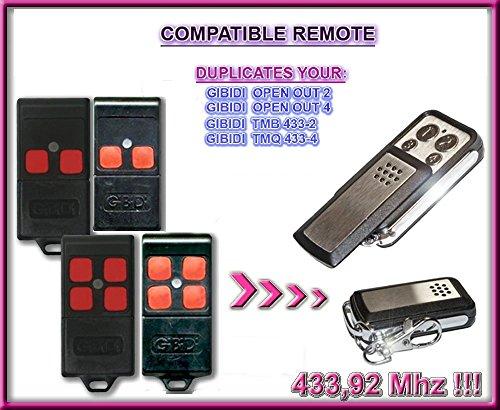 GIBIDI OPEN OUT 2 / OPEN OUT 4, TMB 433-2, TMQ 433-4 433,92Mhz Compatibile Telecomando radiocomando; 433,92Mhz CLONARE, clone
