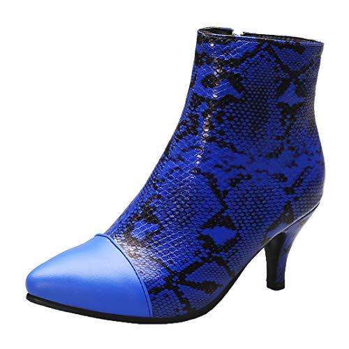 MISSUIT Damen Spitze Ankle Boots Kitten Heels Stiefeletten Schlangenmuster Reißverschluss Herbst Winter Schuhe(Blau,40)
