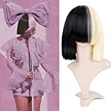 BECUS Two Tone Half Blonde and Half Black Wig with Long Bangs 14 inches Short Straight Bob Wigs for Cruella Women Heat Resistant Synthetic Hair Cospaly