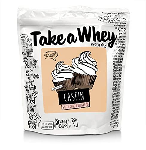 TAKE-A-WHEY Shake Proteico Della Caseina Micellare Tutti I Giorni, Cupcakes al Cioccolato Bianco - 750 g