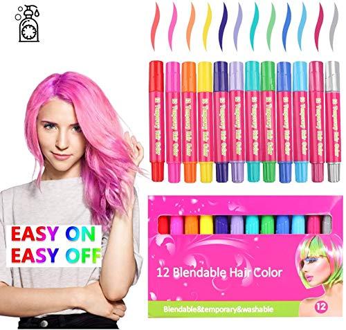 Magie Kamm-Haar-Kreide, 12 Farben temporäre Haarfarbe Pens for Mädchen, Leuchtende Waschbar Haarfärbemitteln Pens for Partei und Cosplay DIY Geschenk, ungiftige und sichere Kinderhaarschmuck Crayons
