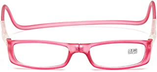 Hanging Neck Reading Glasses Magnet Glasses Adjustable Front Connection Reader Ultre Light Anti-Forgetting Radiation to Send The Elderly (Color : Pink, Size : +1x)