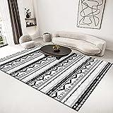 Alfombra Chindi, Retro Negro Triángulo Patrón de Flecha Marruecos Nórdico Extra Grande Interior Impreso Alfombra de Piso Alfombras Antideslizantes Área Lavable para Decoración del Hogar Dormitori