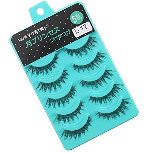 Scala 5 pairs /set 3D False Eyelashes Messy Cross Thick Natural Fake Eye Lashes Professional Makeup Tips Short False Eye Lashes (L-12)
