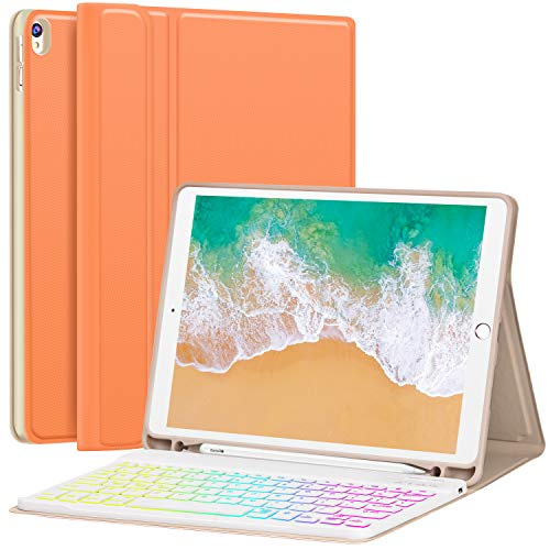 iPad Pro 10.5 Case with Keyboard 2017 for iPad Air 3rd Gen 10.5 2019 - Hundreds of DIY/7 Colors Backlight - Detachable Keyboard with Pencil Holder Folio Cover for New iPad Air 10.5' Inch, Papaya