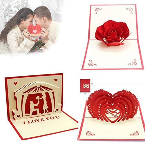 nnko 3D Red Pop UP Greeting Cards, Valentine's Day Blessing Card, Romantic Love Cards Handmade Heart Cards 3D Creative Handmade Paper, Valentines Anniversary Love Card(3pcs)