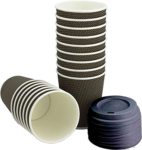 50 tazas Ripple con tripe pared con tapa | Capacidad: 236 ml