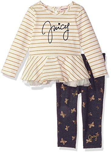 Juicy Couture - Conjunto de Playera y leggado para niña, Vanilla/Navy, 12m