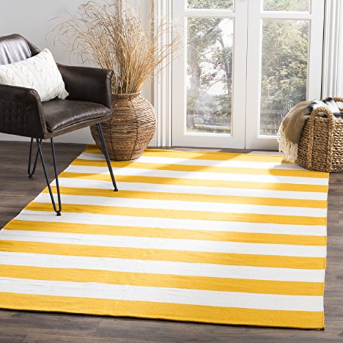 Safavieh Montauk Collection MTK712A Handmade Flatweave Yellow and Ivory Cotton Area Rug (5' x 8')