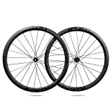 ICAN- Ruote in Carbonio Alpha 40 Disc per Bicicletta da Corsa 40 mm Clincher tubeless Ready Disco Freno 12 x 100/12 x 142 mm