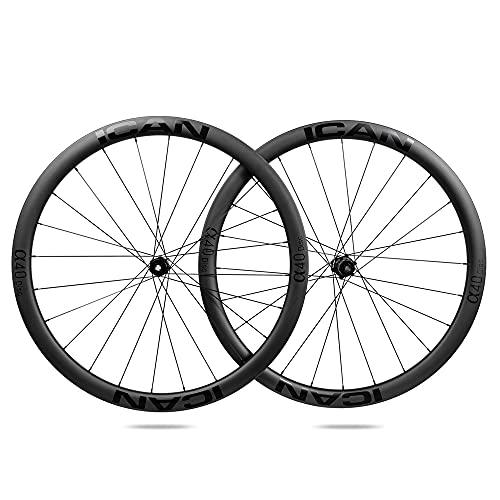ICAN Ruedas de Carbono Alpha 40 Disc Ruedas de Bicicleta de Carretera 40mm Clincher tubeless Ready Disco Freno 12x100/12x142mm