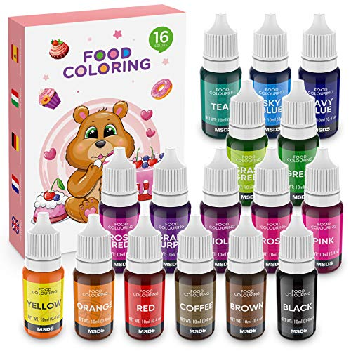 Set de Colorante 16*11ml,Colorante Alimentario Alta Concentración Liquid Set para Colorear los Bebidas Pasteles Galletas Macaron Fondant