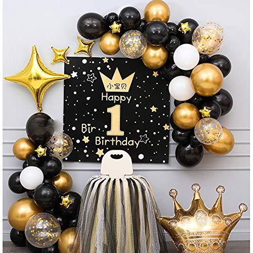 QQRH Decoraciones Cumpleaños,Decoraciones Fiesta Pancarta cumpleaños,Decoraciones Fiesta,Globos de Confeti de Oro Negro Plateado,Banner de Feliz Cumpleaños,Adornos y Guirnaldas