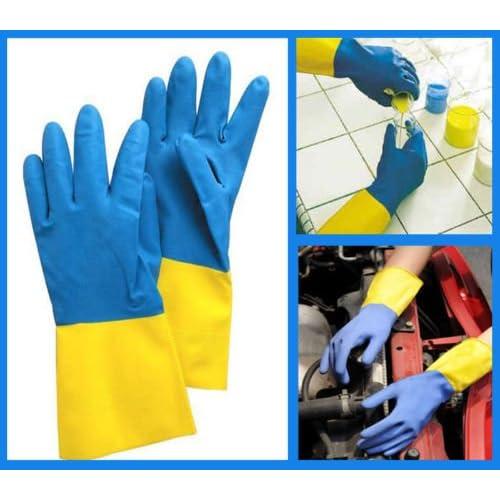 Shahji Creation Reusable Rubber Latex Household Kitchen Non Slip Gloves, Free Size
