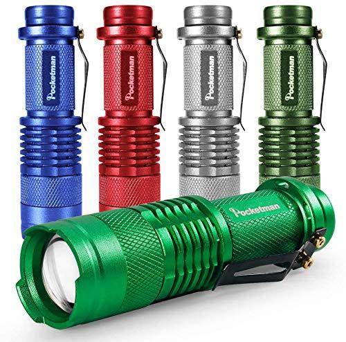 5er Pack LED MIni Taschenlampen 7W 300LM SK-68 3 Modi Verstellbarer Fokus Zoombare Q5 LED Taktische Taschenlampe für Camping-Wandernotfälle (fünf Farben)