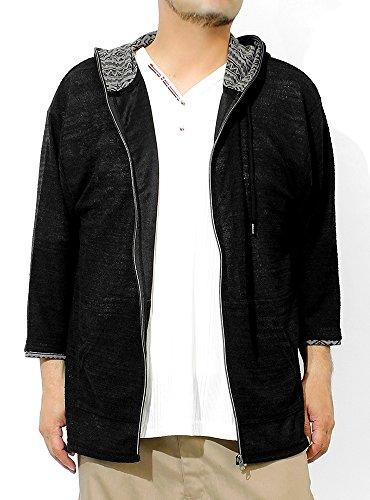 パーカー メンズ 大きいサイズ ジップアップ 七分袖 スラブ サマーニット 薄手 ジャガード柄 切替 ジャケット 3L ブラック(01)