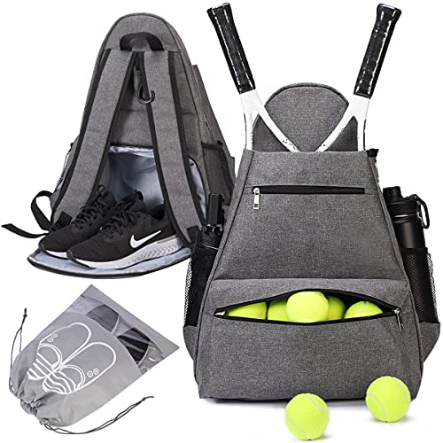 shiningwaner Tennis Bags Tennis Backpack with Shoe Compartment Shoe Bag for Men and Women, Holding Tennis Badminton Squash Racket, Pickleball Paddles and Other Accessories, Grey