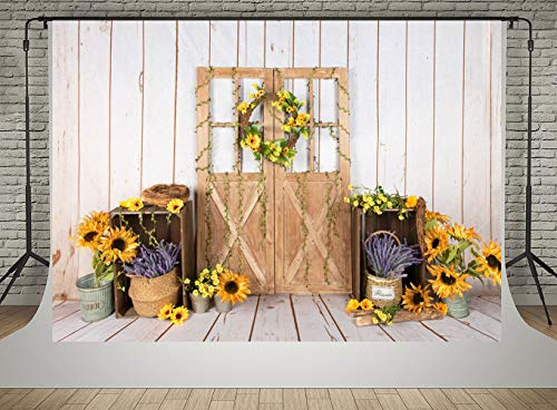 Blue Wooden Board and Yellow hat Wedding Baby Photography Background Custom Photography Studio Photography Background