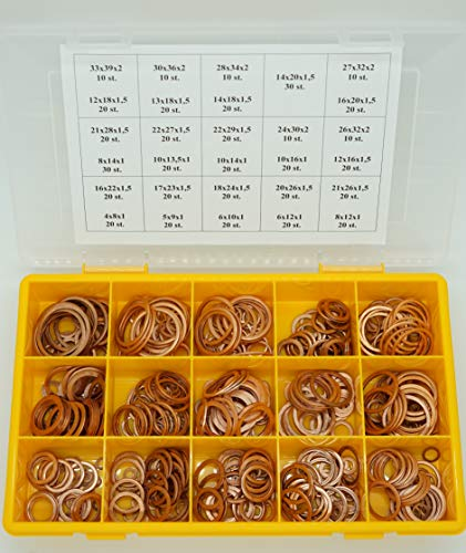 Kupferringe/Dichtringe/Kupfer Sortiment - Set 540 TEILIG DIN 7603 From A