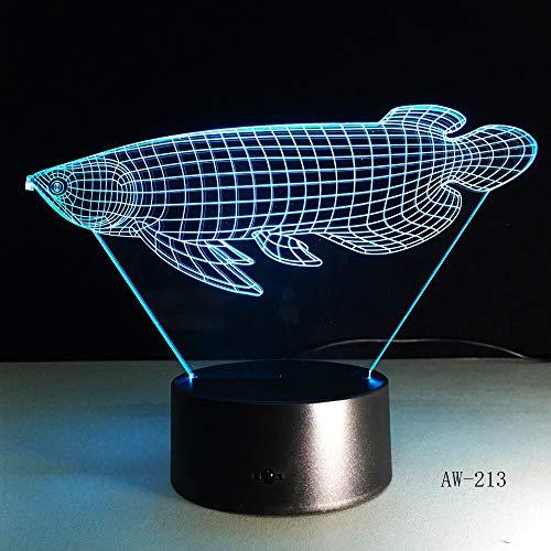 Solo 1 pieza 3D simulación de peces Visual LED luz nocturna Lucky Arowana lámpara de mesa adornos decoración iluminación colorida Drop Ship