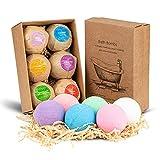 Set de regalo de bomba de baño HENMI, 6 bombas de espuma de lujo hechas a mano, bombas de spa de aceites esenciales orgánicos y naturales, regalo perfecto de cumpleaños/San Valentín/para novia