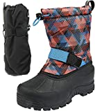 Northside Frosty Winter Boys/Girls Snow Boots with Matching Waterproof Mittens, Size: 12 M US Little Kid - Navy/Orange (Navy)