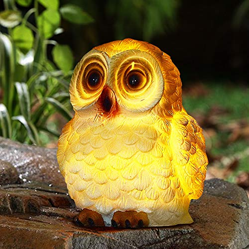 Garden Ornaments Outdoor Owl Ornament - Solar Garden Ornaments Garden Decorations, Owl Garden Ornaments with Solar LED Lights Waterproof Resin for Yard Lawn Decoration Gift