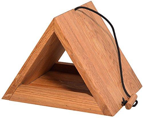 Luxus-Vogelhaus 46620e Modernes dreieckiges Eichenholz-Futterhaus mit Kordel-Aufhängung - 2