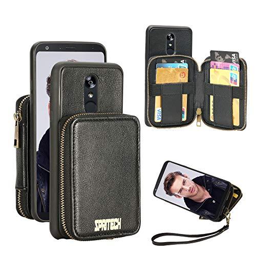 Spritech Schutzhülle für LG Stylo 4, Leder, Brieftaschen-Hülle mit Kreditkartenfächern, Reißverschluss, Geldbörse, Handtasche, Handschlaufe, für LG Stylo 4 Plus (Q710) / LG Q Stylus