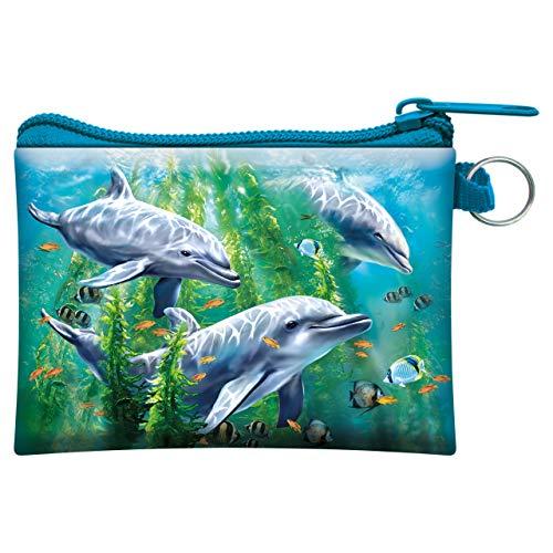 3D LiveLife Geldbörse Delphin Seetangenbett von Deluxebase. 3D-Ozean-Geldbörse. Bargeld und Kartenhalter mit sicherem Reißverschluss mit Kunstwerken, lizenziert von der renommierten Tami Alba