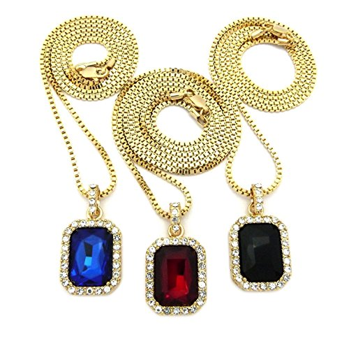 Shiny Jewelers USA Mens ICED Out Hip HOP RED Ruby, Black Onyx Blue & Green Pendant Box Chain Necklace Set of 3 (Red Black Blue)