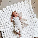 little dove Knotted Braided Plush Mat 35.4 inch Large Floor Pillows Rug for Sleeping Playing Nursery Tummy Time Knot Floor Cushion Handmade Soft White