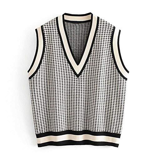 KJMAO Locker V-Ausschnitt Unterhemd für Damen, modisch, lässig, Hahnentritt-Mantel für Frauen Gr. Large, Hhvs3063