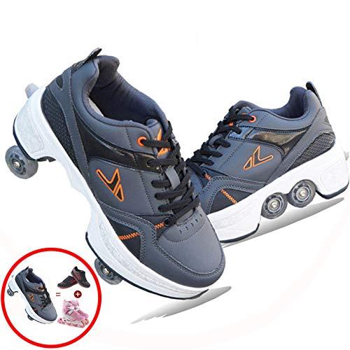 Zapatos De Polea Invisibles, Zapatos para Caminar Automáticos, Zapatos De Patines con Ruedas Zapatillas De Patinaje sobre Ruedas De Deformación De Doble Fila, para Niños Y Niñas,D-35