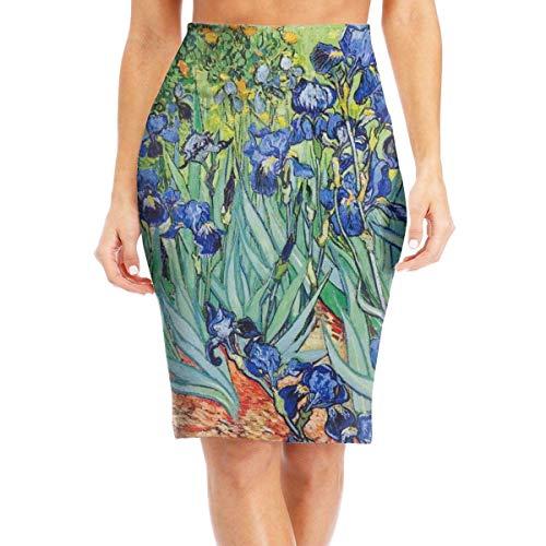 Van Gogh Irises - Falda de lápiz estampada para mujer Blanco blanco Small