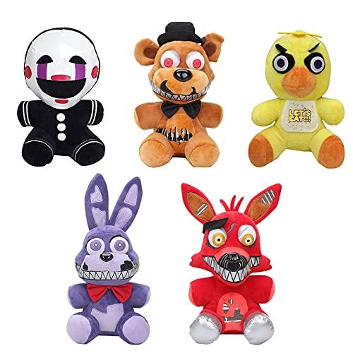 Five Nights at Freddy'S Peluches 5 Piezas FNAF Figura Bonnie Marionette Nightmare Foxy Freddy Chica Juguetes Animales y Figuras de Peluche Colecciones Muñeca Regalo-5PCS  18CM