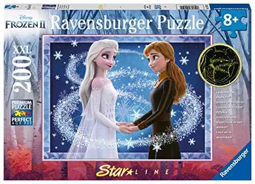 Ravensburger Kinderpuzzle - 12952 Bezaubernde Schwestern - Disney Frozen Puzzle für Kinder ab 8 Jahren, mit 200 Teilen im XXL-Format, Leuchtet im Dunkeln
