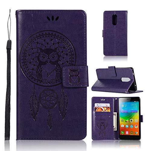 Sangrl Wallet Hülle Für Lenovo K6 Note, Mode PU-Leder Handyhülle [Standfunktion] [Credit Card Holder] Flip Hülle Schutzhülle Owl with Dreamcatcher Muster - Lila