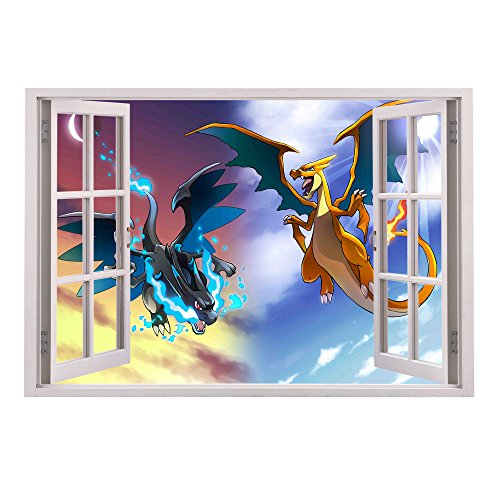 Customise4U Pokemon Charizard Fenster Wand 70cm Wand Tattoos Wandtattoos Dekorative Wandabziehbilder