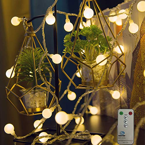 Weepong Globe String Lights 100 LED 42ft Ball Fairy Lights with Remote 29V Ul Certified Plug Christmas String Lights for Indoor Outdoor Xmas Tree Wedding Party Patio Garden Porch (8 Modes Warm White)