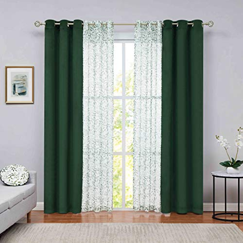 Nottingson Home Living Room Curtain 95 inch Long Room Darkening Drapes 4 Sets Mix and Match Velvet Panels with Print Botanical Curtain with Sheer Window Treatments Set Dark Green 40x95+36x95 4 Panels
