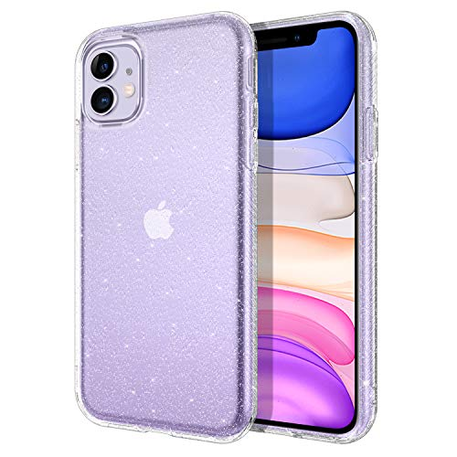 DOMAVER iPhone 11 Case Clear Glitter Sparkle Bling Sparkly Shiny Girly iPhone 11 Cover Slim Lightweight Anti-Slip Bumper Flexible Durable Shockproof Protective Phone Cases for iPhone 11 6.1 Inch