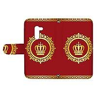 スマQ AQUOS zero 801SH 国内生産 カード スマホケース 手帳型 SHARP シャープ アクオス ゼロ 【B.レッド】 王冠とレース シンプル ami_vd-0248