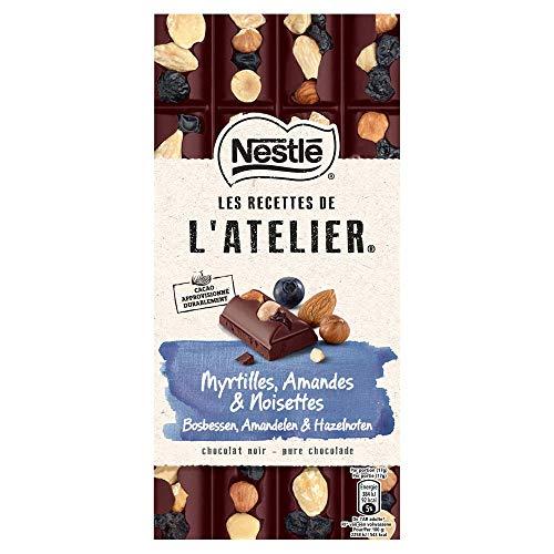 Nestlé L'Atelier Puur Bosbes Hazelnoot Amandel chocoladereep - doos met 10 stuks (10 x 170 gram)