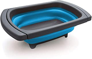 Collapsible Wash & Drain Wash Basin Dishpan, Creative Kitchen Colander Comes with Integrated Plug and Strainer with Draining Plug Carry Handles By Povinmos, Blue