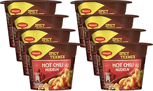 Maggi 5 Minuten Terrine Hot Chili Nudeln, 8er Pack (8 x 59 g)