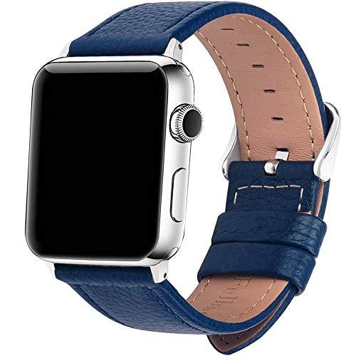HMXA Correa De Reloj De Cuero De 3 Colores for Apple Watch Band Series 5/3/2/1 Correa Deportiva 42mm 38mm Correa for Iwatch 4 Band (Band Color : Blue, Band Width : 38mm)