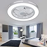 TFCFL 22' Modern Ceiling Fan with Light, Round Chic Dimmable Semi Flush Mount Low Profile Fan Remote Control Invisible Blades 3 Speeds 3 Colors Changing for Bedroom Dinning Room (White)