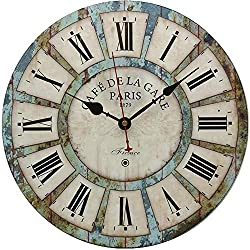 RELIAN 13.5 Inch Vintage Wall Clock, Battery Operated Wall Clock, Roman Numbers, Wooden Clock for Farmhouse, Living Room, Bedroom, Bathroom and Office - Rustic Vintage Style