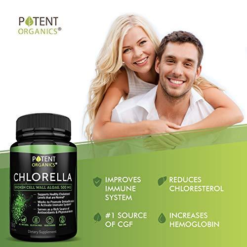 Purest Organic Chlorella with CGF - Non-GMO, 100% Vegetarian & Non-Irradiated - 500 mg - 180 Easy to Take Superfood Capsules - No Aftertaste Tablets - Perfect for Weight Loss